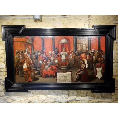 Tableau Le Jugement Du Christ, École Flamande XVIIème (204cm X 123cm)