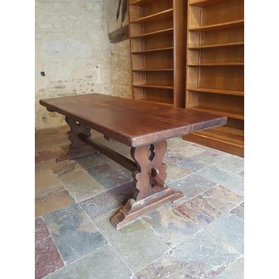 Table De Monastère En Chêne, Fin XIXème. (220cm X 80cm)