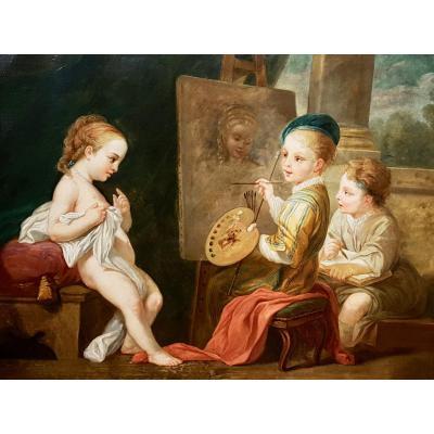 Tableau Les Enfants Peintres, Atelier, Jeune Modèle, Fin XVIIIème (144cm X 98cm)