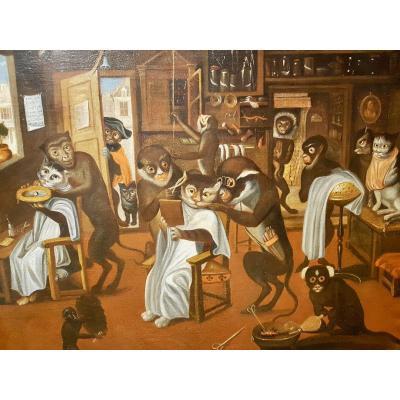 Les Chats Chez Les Singes Barbiers, Atelier Ferdinand Van Kessel, Fin XVIIème (100cm X 81cm)