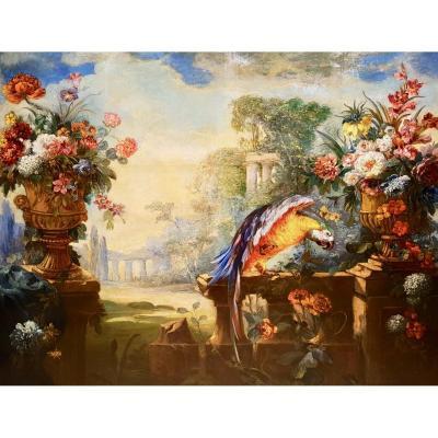 Huile Sur Toile, Nature Morte Aux Fleurs Et Perroquet, XIXème (180cm X 160cm)