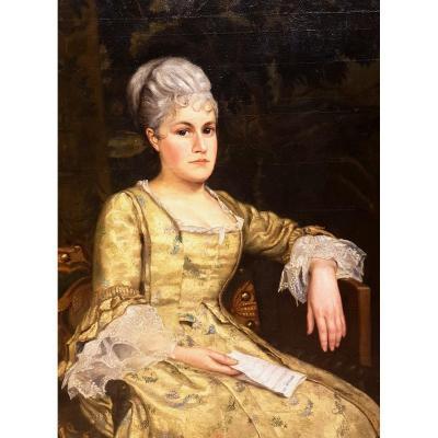 Portrait De Femme, La Lecture, Arthur Beckwith 1878. (122cm X 88cm)
