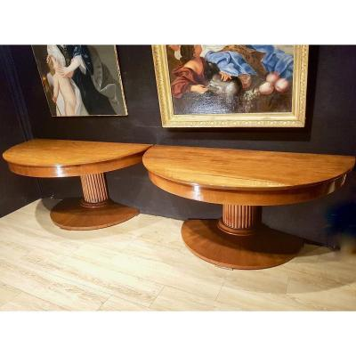 Pair Of Walnut Table Consoles, Early Nineteenth. 156cm Diameter