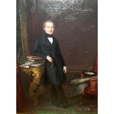 Anne Nicole Voullemier, Portrait d'Henri Goffart, 1847. Huile Sur Toile.