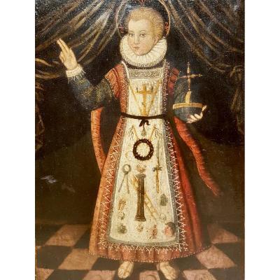 Rare Tableau Du Christ Enfant, Huile Sur Panneau XVIIe Siècle.