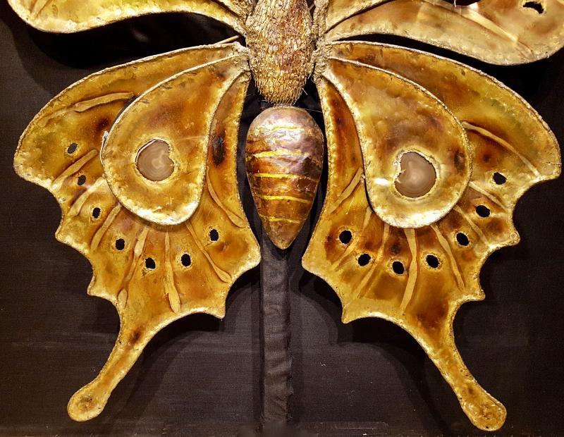 Papillon En Laiton Et Agathe, François Melin Vers 1975. (232cm X 173cm)-photo-2