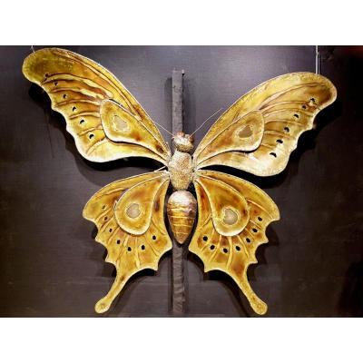 Papillon En Laiton Et Agathe, François Melin Vers 1975. (232cm X 173cm)