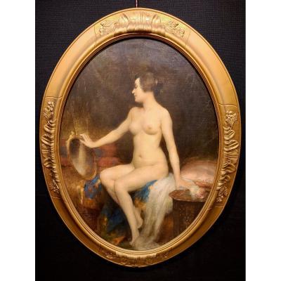 Henri Adrien Tanoux, Nu Au Miroir, 1923 Époque Art Déco (120cm X 91cm).