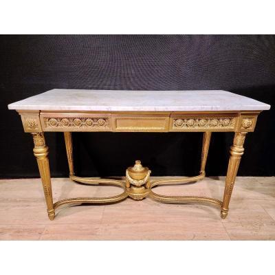 Importante Console En Bois Doré d'Époque Louis XVI, XVIIIe. (147cm x 70cm x 89cm).
