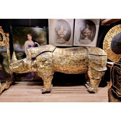 Rhinocéros, Immense Sculpture Éclairante En Laiton, François Melin, Vers 1970. (3m20 X 1m40)