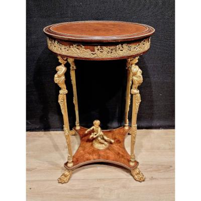 Gilt Bronze And Mahogany Pedestal Table, Cherubs And Love, Late Nineteenth.
