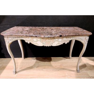 Table À Gibier En Bois Laqué, Console d'époque Régence, XVIIIe.