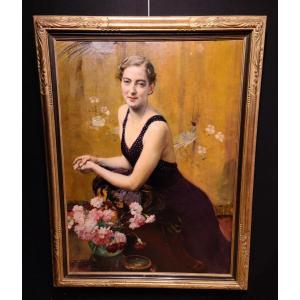 Herman Richir (1966-1942), Portrait De Jeune Femme, Daté 1936. (127cm X96cm)