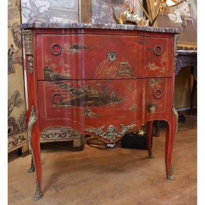 Commode En Vernis Martin De Style Transition du XIXème