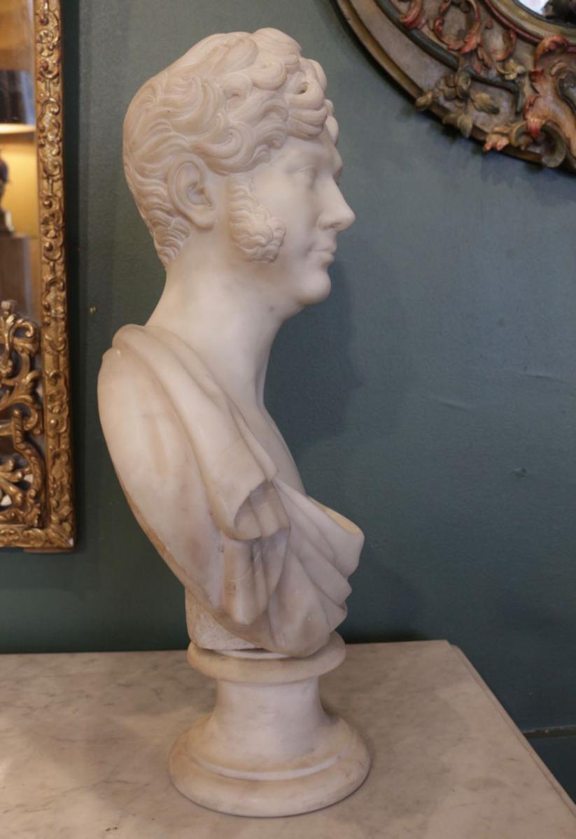 Buste En Marbre d'époque Restauration