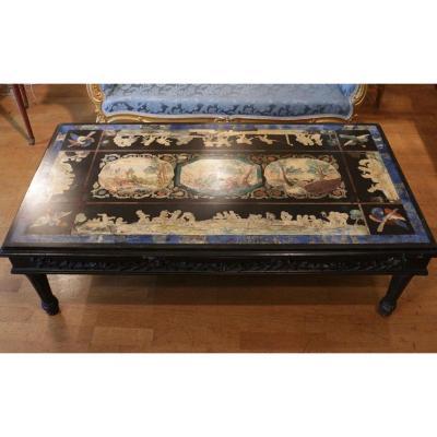 Grande Table Basse En Scagliola Du XIXème