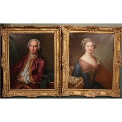 Paire De Portraits Du XVIII ème Siècle De Catherine II de Russie