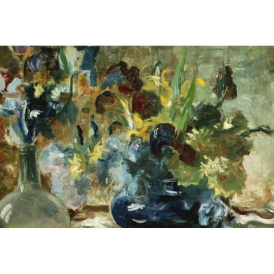Bouquets d'Iris Par Jacques Martin (1844-1919), Peintre Lyonnais.