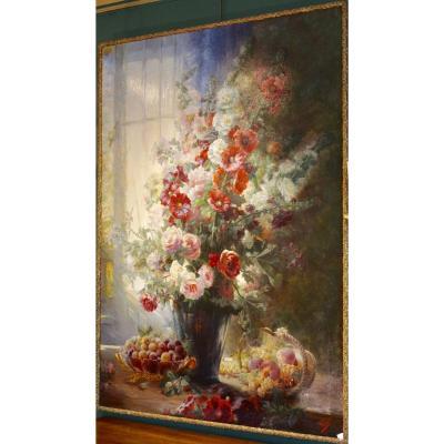 Nature Morte Aux Fleurs Et Aux Fruits, Signée Vincent XIXème