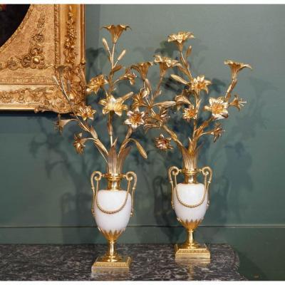 Paire De Vases Fleuris Louis XVI. Fin XVIII ème
