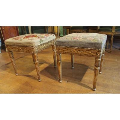 Two Stools In Golden Wood 1930s