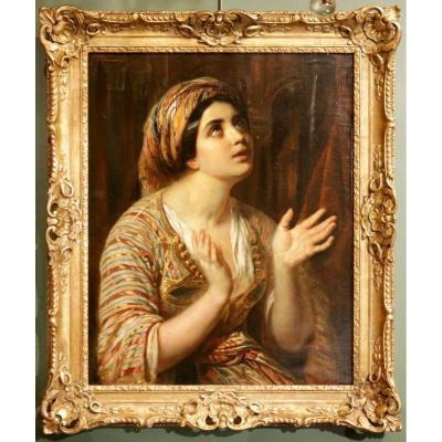François-gabriel Lépaulle. (1804-1886) Femme En Costume Oriental