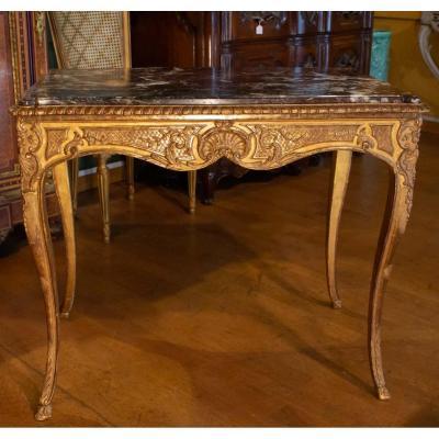 Table De Style Régence En Bois Doré. XIXème