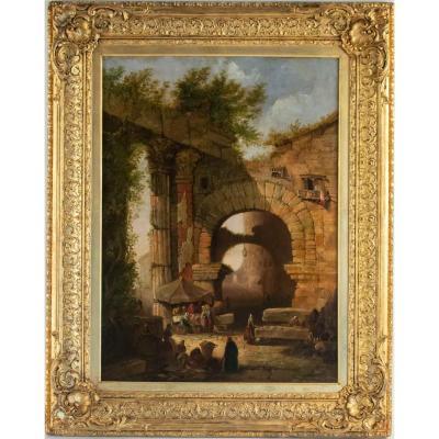 La porte d'Octave au Forum de Rome. Robert Smith (1787-1873)