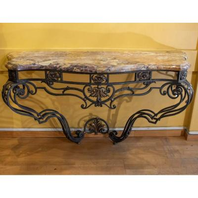 Large Console Wrought Iron Louis XV Style, Nineteenth