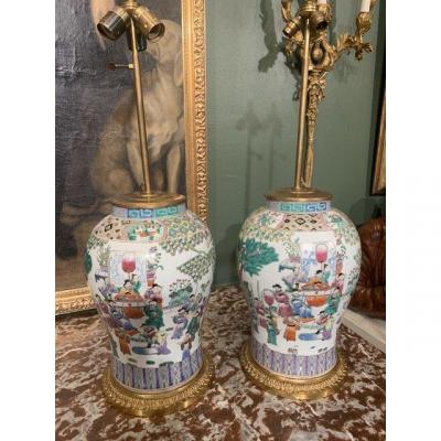 Pair Of Chinese Lamps. XIX Century.
