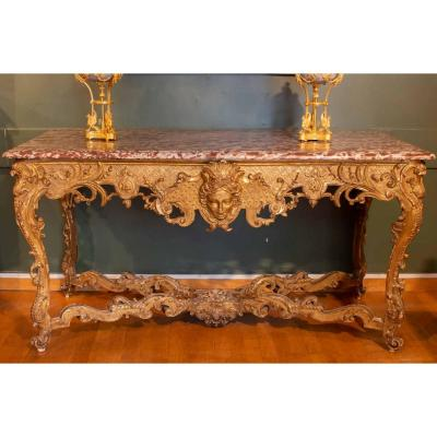 Large Regency Console In Golden Wood. Nineteenth Century