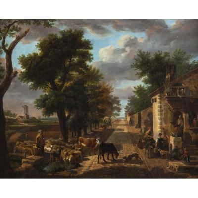 Jean-louis Demarne ( 1752-1829).  Paysage Animé.