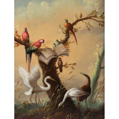 José Martorell. Paire de tableaux. Le concert des oiseaux. XIXème