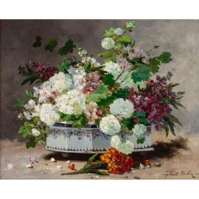 Charles Gilbert Martin 1830-1905. Bouquet Of Flowers In A Rouen Planter.