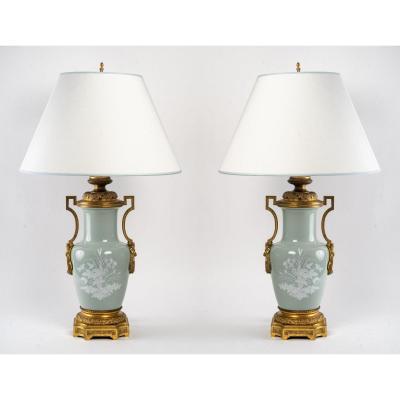 Paire De Lampes En Porcelaine D'époque Napoléon III.