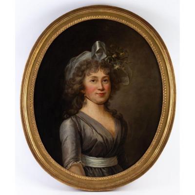 Portrait d'Une Jeune Femme Au Ruban Vers 1790.