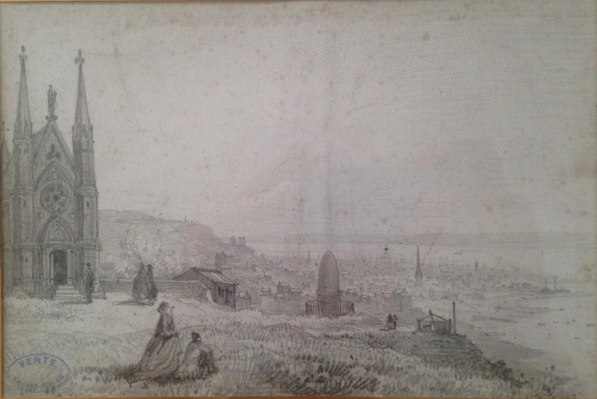Amédée Rosier, Vue De Sainte-adresse En Normandie Vers 1852, Dessin
