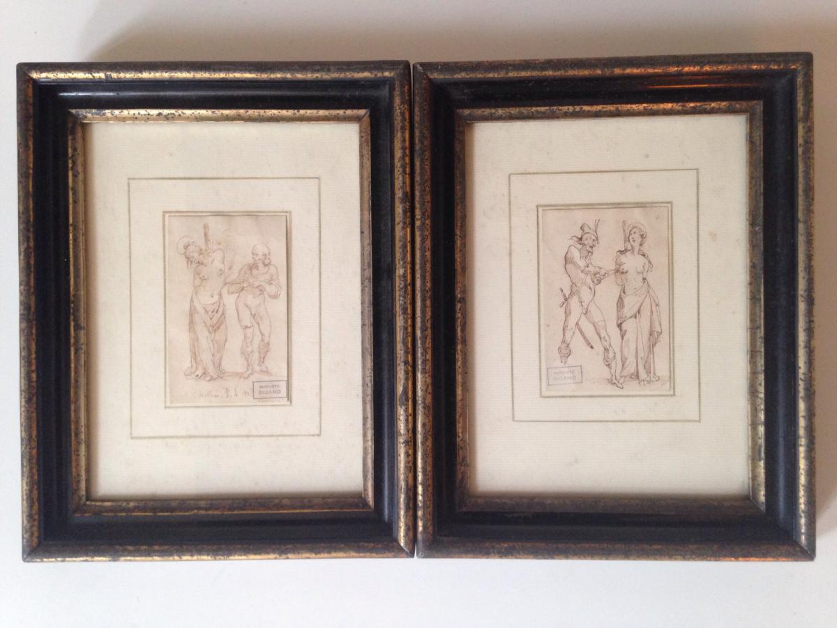 Auguste Bigand Pair Of Drawings The Martyrdom Of St. Dorothy Agatha