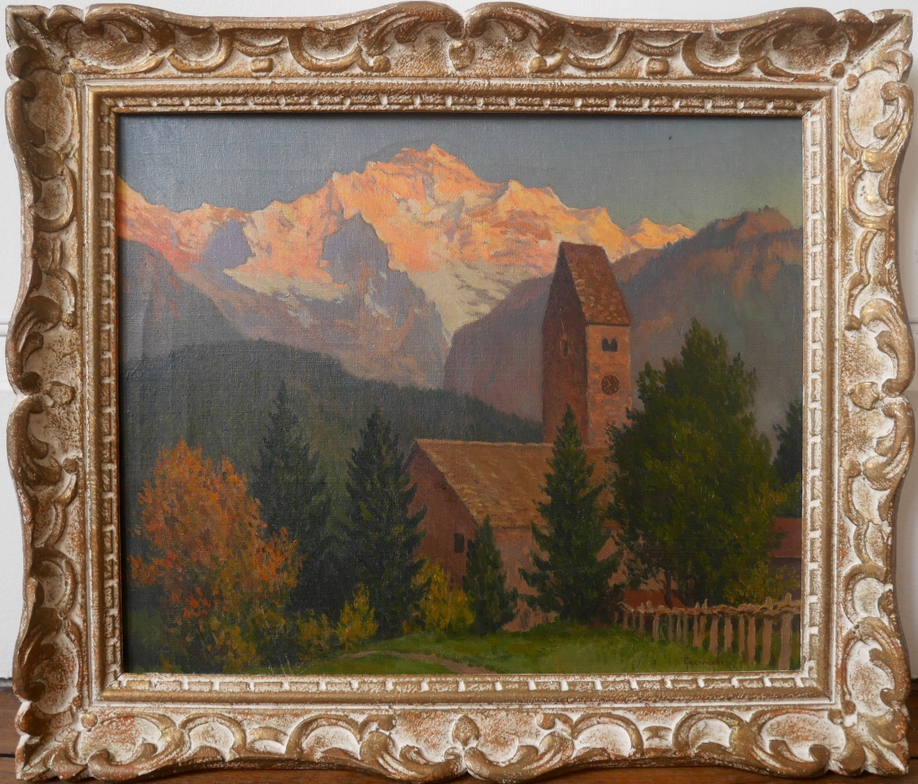 Michel Guermacheff Sunset Mountain Russian Painter Oil On Canvas Early 20th Century