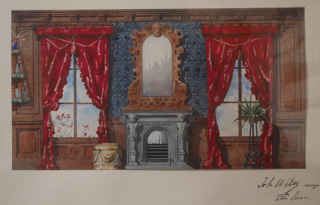 Aquarelle Intérieur XIXème John Weber Vers 1890 Architecture Miroir Cheminée