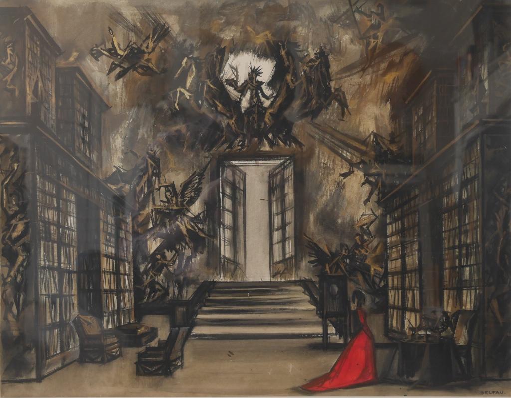 André Delfau Gouache Watercolor Mephistophela Faust Opera Ballet Chicago Berlioz Boito Gounod