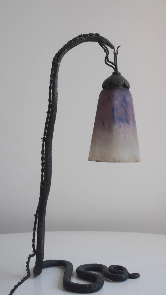 Lampe En Forme De Serpent Tulipe Schneider Début XXème Travail Français