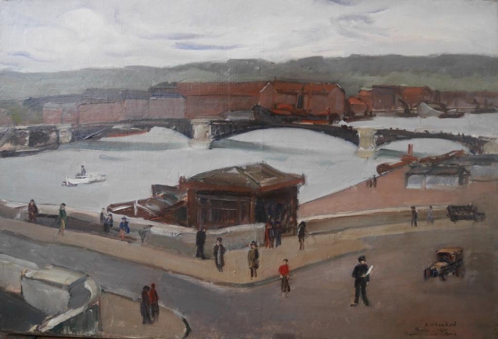 A Blanchard La Seine à Rouen 1930 Huile Sur Toile Scène Animée
