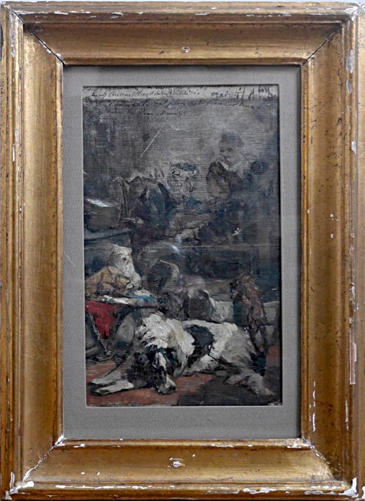 Charles Van Den Eycken (1859-1923) Chien Esquisse Belge