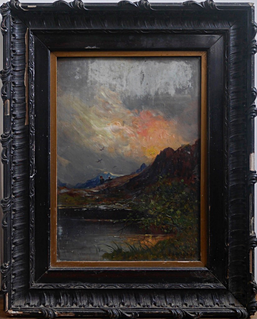 Giuseppe Buscaglione Sunset In Italy Landscape View Italian XIXth Mountain Oil Wood