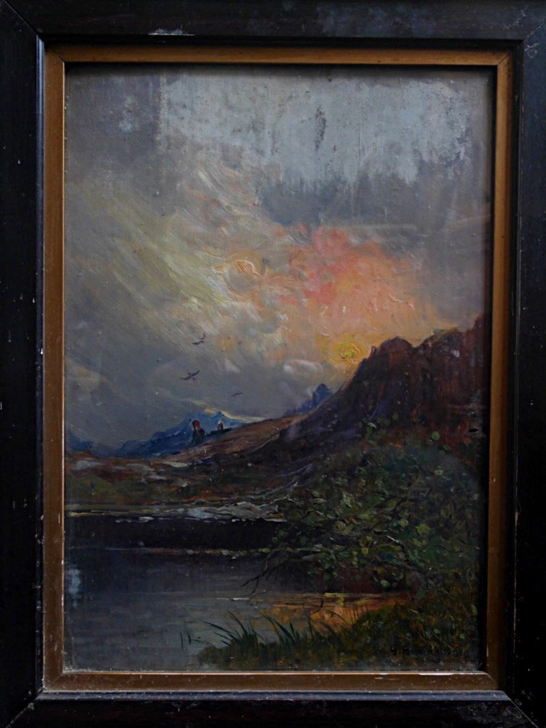 Giuseppe Buscaglione Sunset In Italy Landscape View Italian XIXth Mountain Oil Wood-photo-2