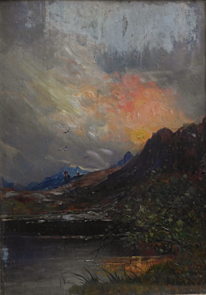 Giuseppe Buscaglione Sunset In Italy Landscape View Italian XIXth Mountain Oil Wood-photo-3