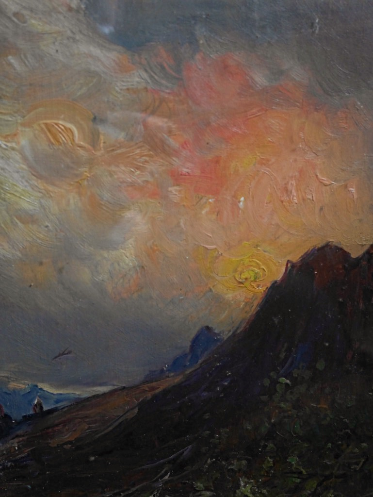 Giuseppe Buscaglione Sunset In Italy Landscape View Italian XIXth Mountain Oil Wood-photo-4