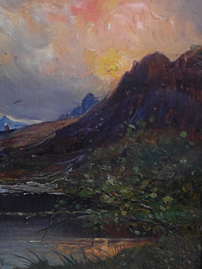 Giuseppe Buscaglione Sunset In Italy Landscape View Italian XIXth Mountain Oil Wood-photo-1
