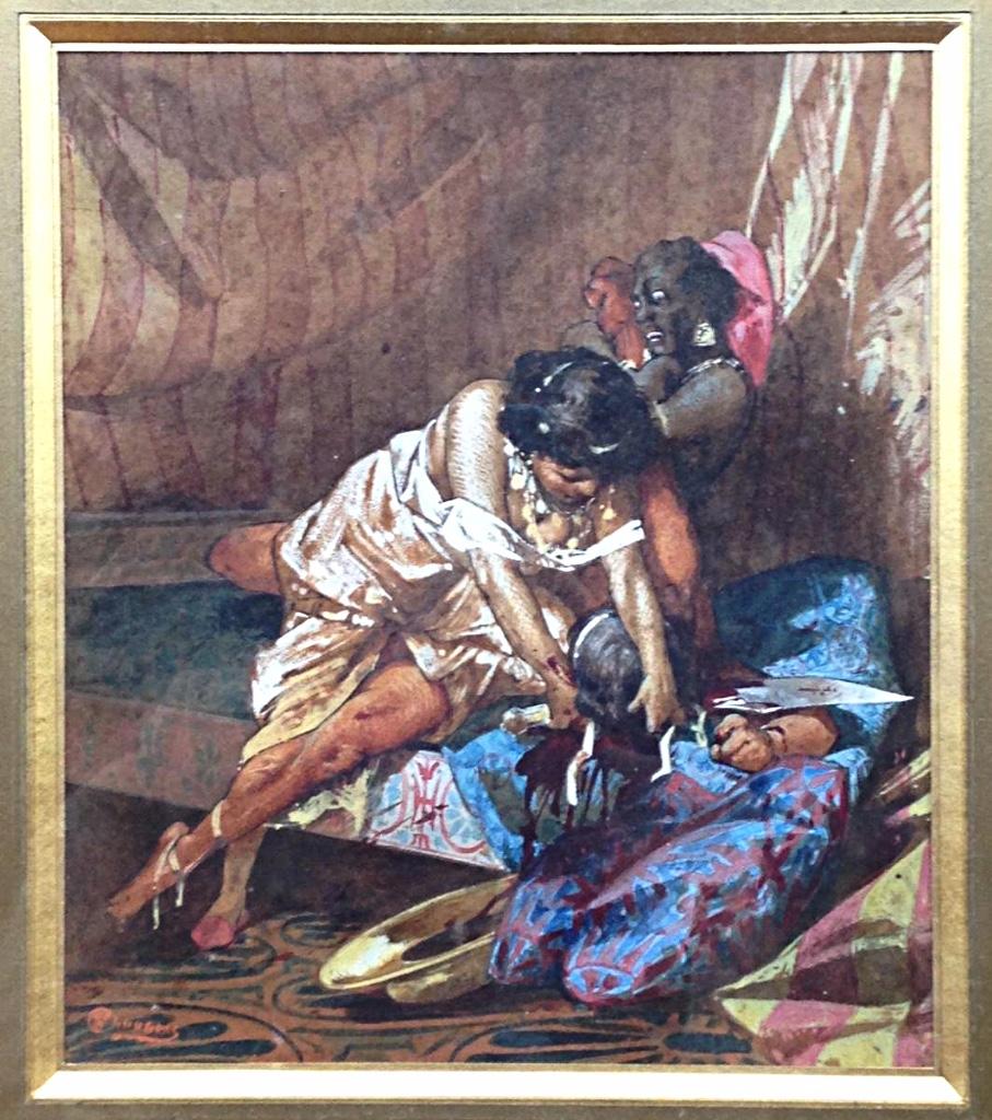 Judith Et Holopherne Par Alfred Choubrac Fin XIXéme Aquarelle Et Gouache Décapitation